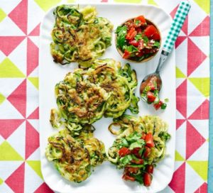 Courgetti fritters with tomato salsa