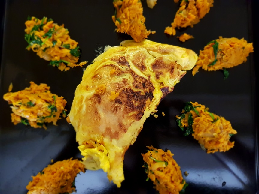 Sweet potato & spinach omelette
